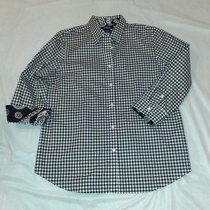 Chaps 3/4 Sleeve Flip Cuff Button Down Shirt PL